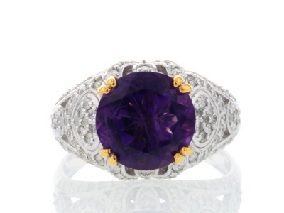 Purple African Amethyst And White Diamond 14k White Gold Ring With 14k Yellow Gold Accents 3.67ctw