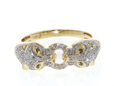 Green and White Diamond 14K Yellow Gold Ring .26ctw