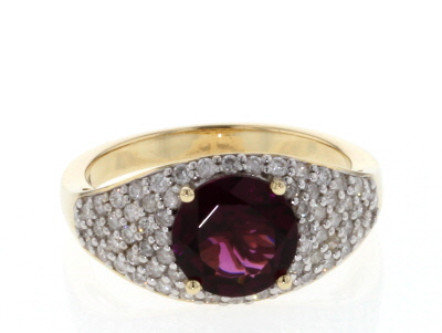Grape Color Garnet And White Diamond 14k Yellow Gold Ring 2.94ctw