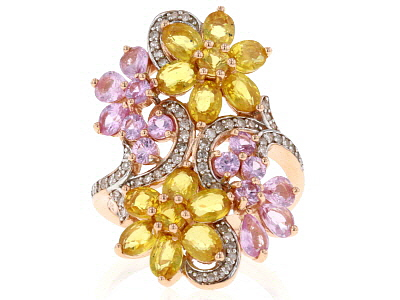 Yellow And Pink Sapphire & White Diamond 14K Rose Gold Ring 4.49ctw