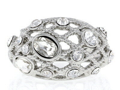 Mixed Shapes White Crystal Silver Tone Ring