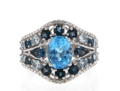Swiss blue topaz rhodium over silver ring 3.80ctw