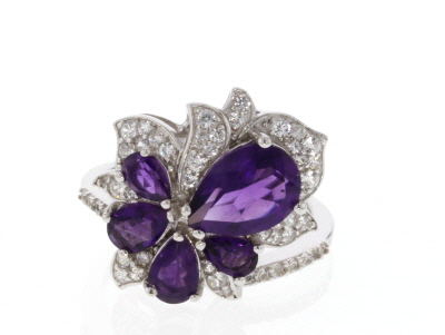 Purple amethyst rhodium over silver ring 3.15ctw