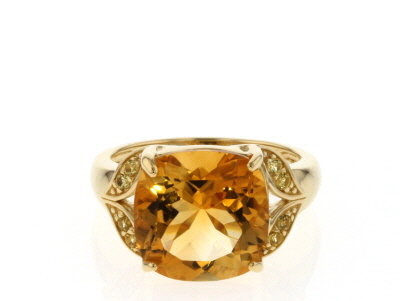 Yellow Citrine 18k Yellow Gold Over Sterling Silver Ring 5.20ctw