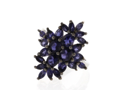 Blue Iolite Rhodium Over Sterling Silver Ring 2.37ctw