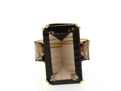 Brown smoky quartz 18k gold over silver ring 27.04ctw