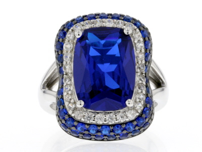 Blue Lab Created Spinel Rhodium Over Sterling Silver Ring 7.17ctw