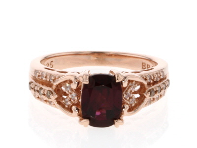 Red rhodolite 18k rose gold over silver ring 1.86ctw