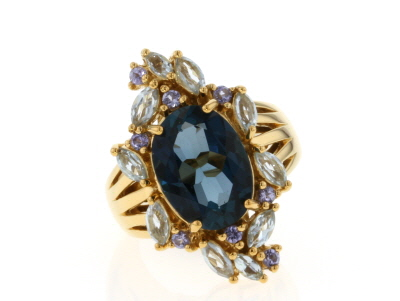 Blue topaz 18k gold over silver ring 7.77ctw