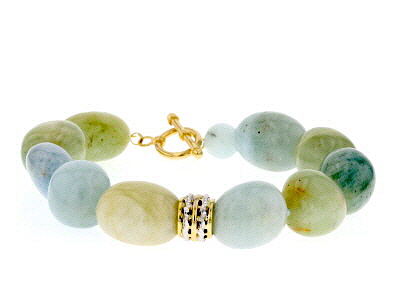 Blue Aquamarine Bead 10k Yellow Gold Bracelet