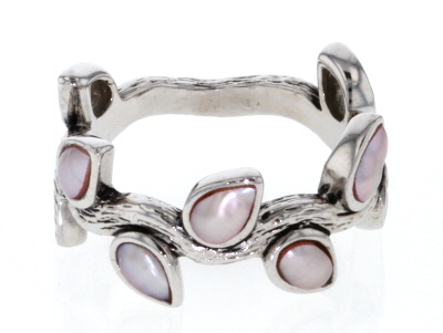 Pink Cultured Freshwater Pearl Rhodium Over Sterling Silver Leaf Band Ring