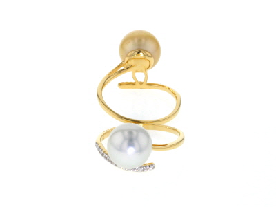 Cultured South Sea Pearl With Topaz 18k Yellow Gold Over Sterling Silver Ring Set 2 10mm