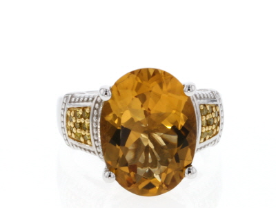 Yellow Citrine Sterling Silver Ring 7.55ctw