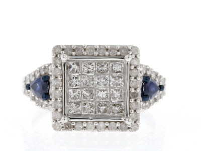 White Diamond And Blue Sapphire 10k White Gold Ring 1.65ctw
