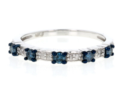 Blue And White Diamond 10k White Gold Ring .29ctw