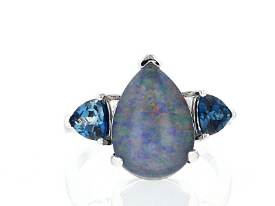 Blue Australian Opal Triplet Rhodium Over Sterling Silver Ring .91ctw