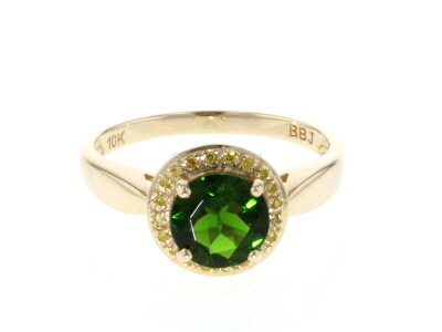 Green Russian Chrome Diopside 10k Yellow Gold Ring 1.26ctw