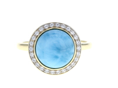 Blue Larimar 10k Yellow Gold Ring