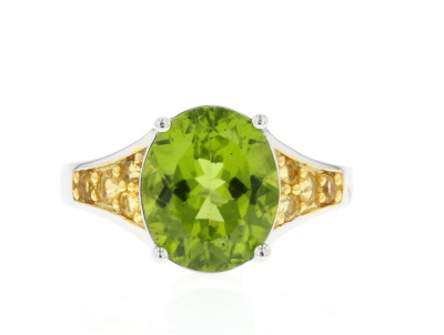 Green peridot sterling silver ring 4.81ctw