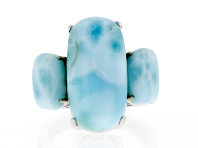 Blue larimar rhodium over sterling silver 3-stone ring