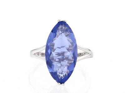 Blue color change fluorite sterling silver ring 7.36ct