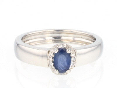 Blue Kanchanaburi sapphire sterling silver ring .56ctw