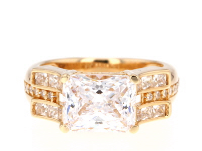 White Cubic Zirconia 18k Yellow Gold Over Silver Ring 7.61 Ctw