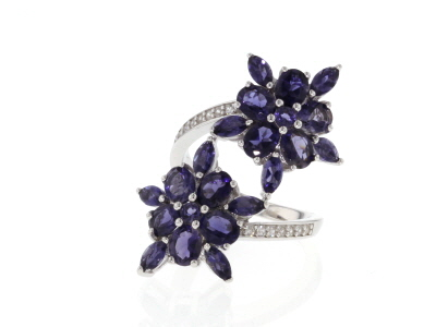 Purple Iolite Rhodium Over Sterling Silver Ring 3.85ctw