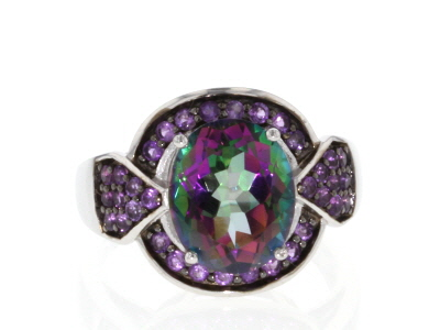 Multi-color Mystic Topaz® Rhodium Over Sterling Silver Ring 4.29ctw