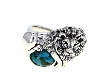Blue Turquoise Rhodium Over Sterling Silver Lion Ring