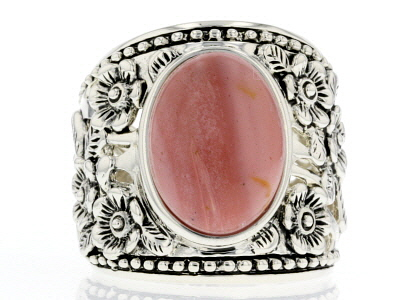 Pink Mookaite Sterling Silver Ring