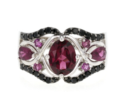Purple Rhodolite Rhodium Over Sterling Silver Ring 2.74ctw