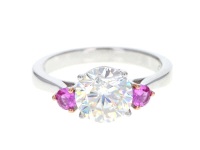 Fabulite Strontium Titanate Sterling And Lab Created Pink Sapphire Silver Ring 4.72ctw