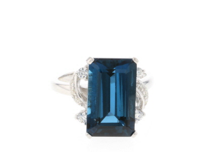 London blue topaz rhodium over silver ring 7.09ctw