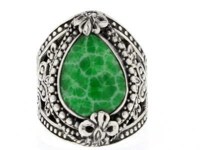 Green Coral Silver Ring