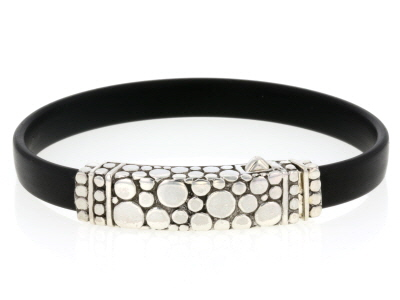 Sterling Silver And Rubber Bracelet