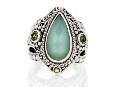 Mint Chrysoprase Doublet Silver & 18kt Gold Accent Ring .56ctw