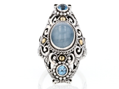 Blue Milky Aquamarine Silver & 18kt Gold Accent Ring .60ctw