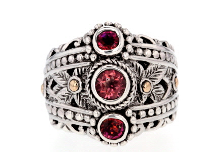 Pink Blessed™ Mystic Topaz® Silver And 18k Gold Ring 1.11ctw
