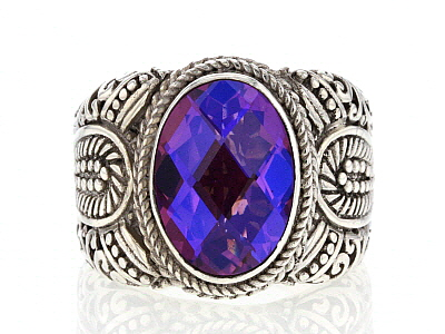 Purple Quartz Triplet Silver Ring