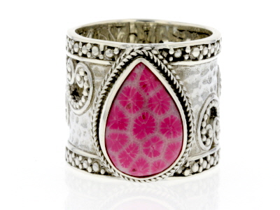 Pink Indonesian Coral Silver Ring