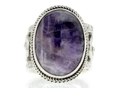 Purple Dogtooth Amethyst Silver Ring