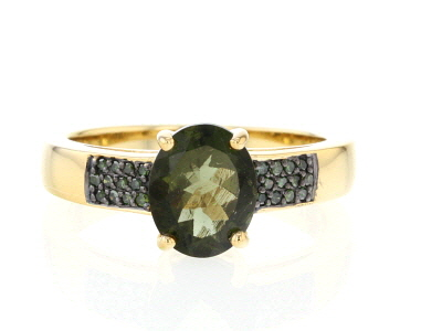 Green Moldavite 18k Yellow Gold Over Sterling Silver Ring 1.50ctw