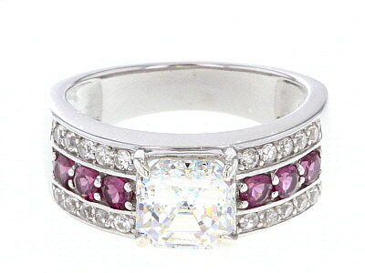 Fabulite Strontium Titanate And Grape Garnet With White Zircon Rhodium Over Silver Ring 3.60ctw