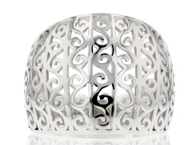 Sterling Silver Scroll Design Wide Band Ring