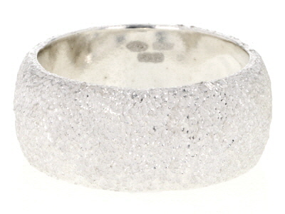 Sterling Silver Satined Starred Band Ring