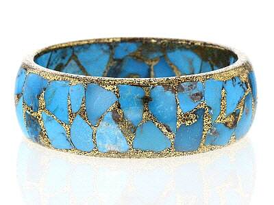 Blue Turquoise With Brass Bangle