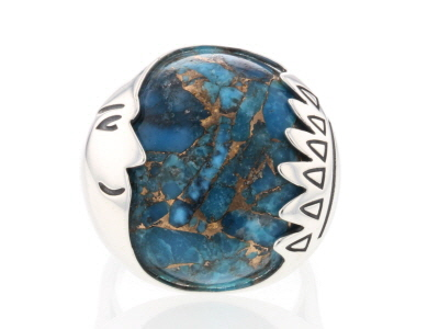 Blue Mohave Kingman turquoise sterling silver ring