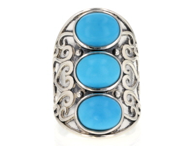 Turquoise Sleeping Beauty Rhodium over Silver Ring