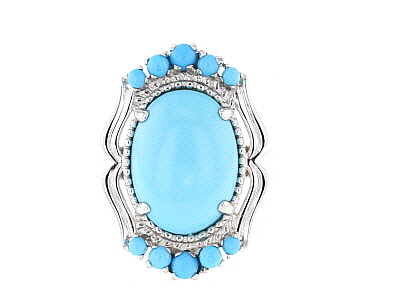 Sleeping Beauty Turquoise Rhodium over Silver Ring